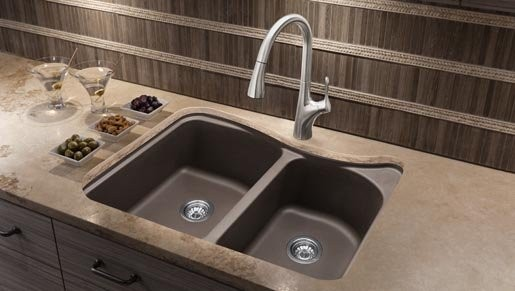 ... Sink Cafe Brown. Here Blanco 446001 Classic Silgranit Double Bowl  Kitchen