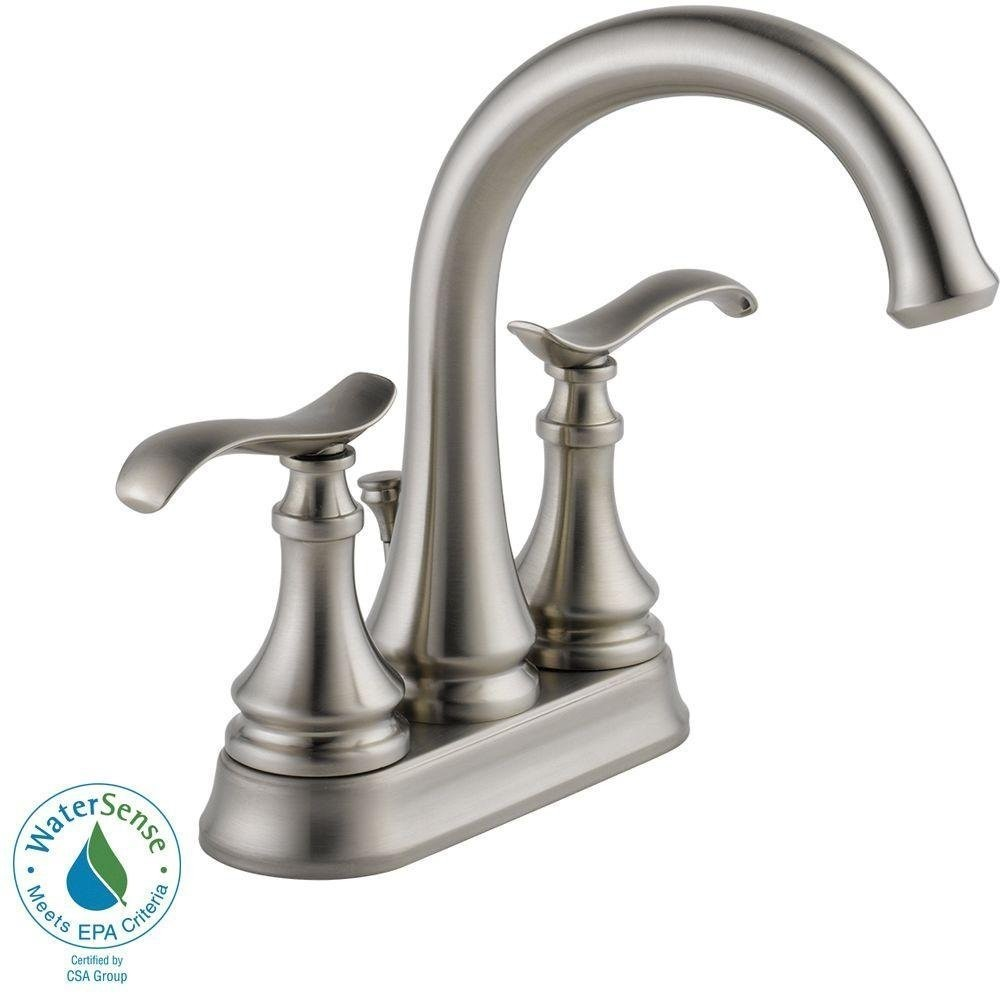 handle faucet brushed shop nickel widespread faucets pd bathroom sawyer sink delta spotshield