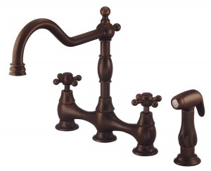 Danze D404557BR Double Cross Lever Cast Sprout Kitchen Faucet, Tumbled Bronze