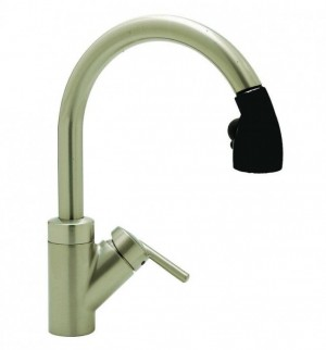 Blanco Rados Kitchen Faucet with Pull Down Spray - 44061,Satin Nickel / Black