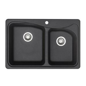Blanco Double Basin Silgranit Kitchen Sink in Anthracite, Anthracite