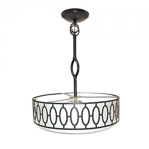 Design House 605931 Tristan 3 Light Frosted Glass Drum Pendant Aged Bronze spec