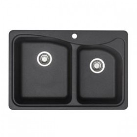 Blanco 446000 Double Basin Silgranit Kitchen Sink in Anthracite, Anthracite