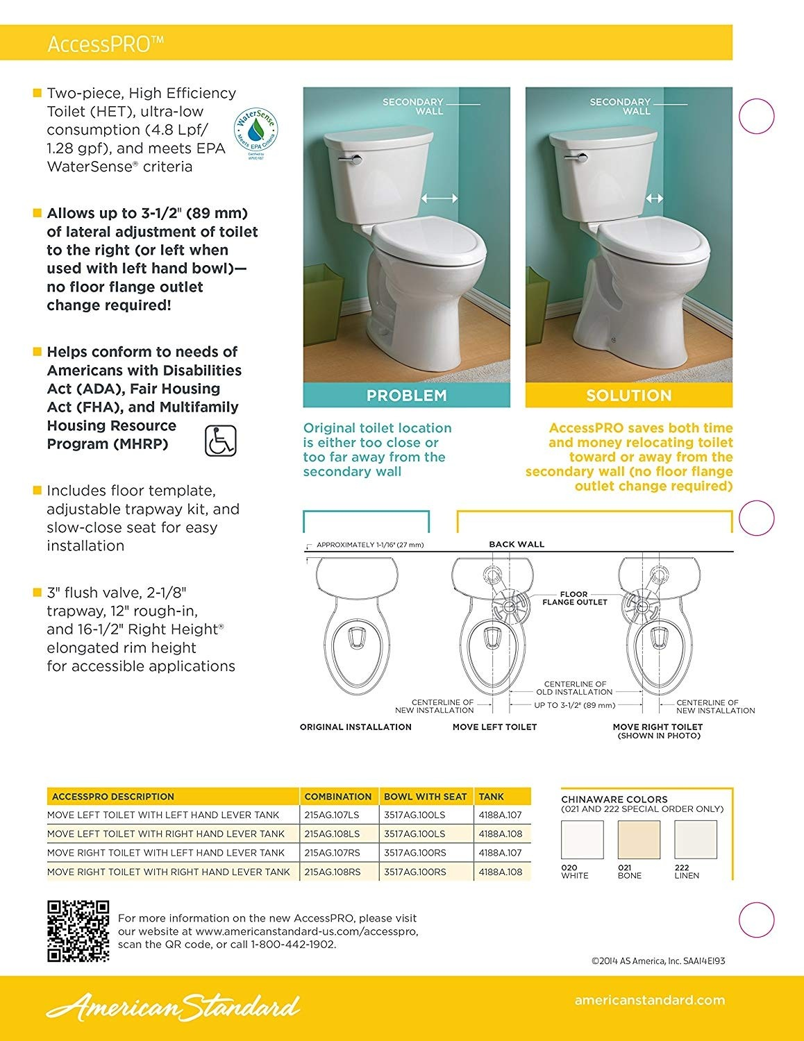 American Standard 215AG107LS.020 AccessPRO Right Height Elongated Toilet with Seat, White
