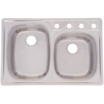 Franke OMS954-18AC USA 18-Gauge Double Basin Topmount Kitchen Sink