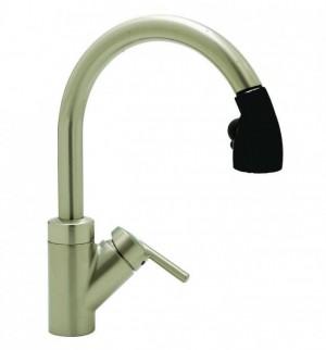 Blanco Rados Kitchen Faucet with Pull Down Spray - 44061,Satin Nickel / Black