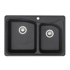 Blanco Double Basin Silgranit Kitchen Sink in Anthracite, Anthracite