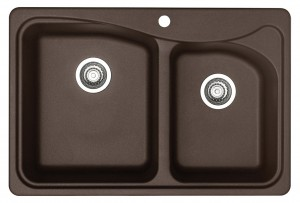 """Blanco B446001 """"Classic"""" Silgranit Double Bowl Kitchen Sink Cafe Brown"""