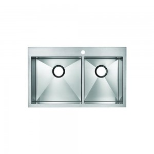 Blanco Precision MicroEdge 516195 Flush Mount Double Bowl Stainless Steel Sink