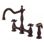 Danze D404557BR Double Cross Lever Cast Sprout Kitchen Faucet, Tumbled Bronze