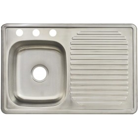 Franke FDBS703BX 3-Hole Single-Bowl Top Mount Kitchen Utility Sink, Drain Board, Stainless Steel