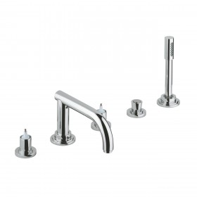 Grohe 25049000 Atrio 5-Hole Roman Tub Faucet with Hand Shower, With Handles, Chrome